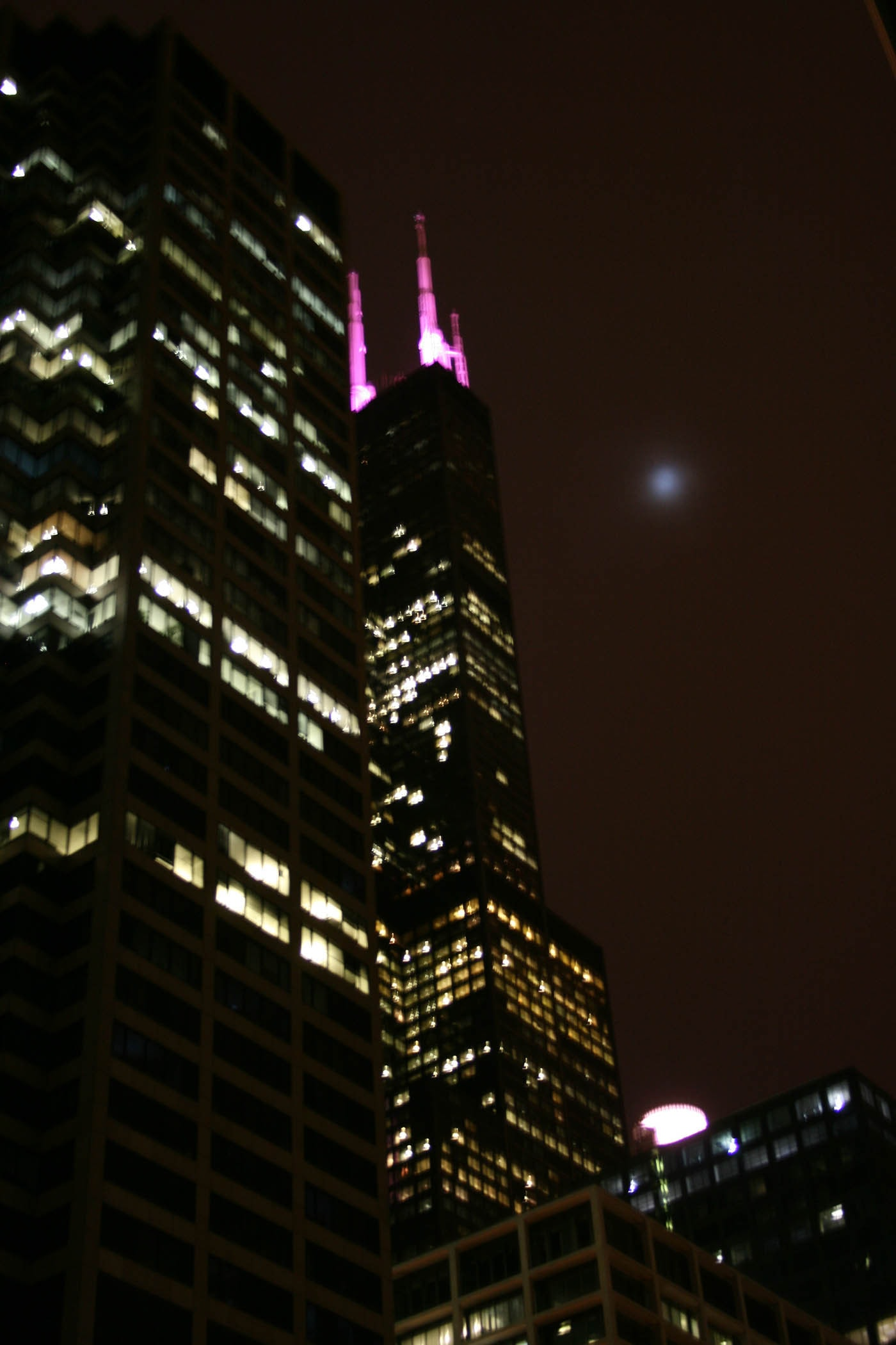 Chicago in pink - pink lights on the Sears Tower.