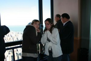 Me and Heather scared of heights at the top of the Sears Tower.