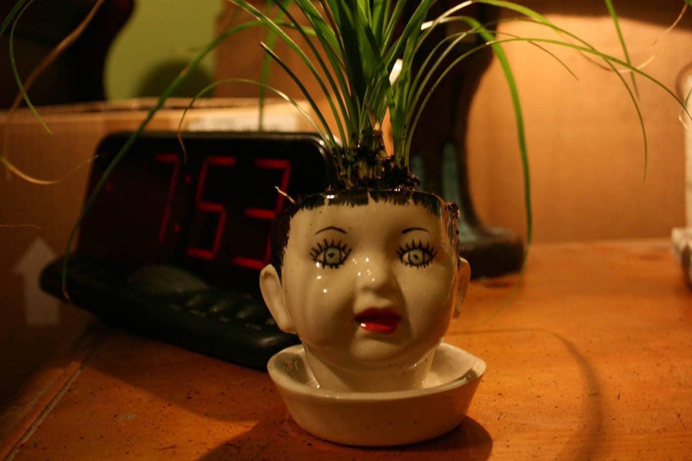 Doll head planter.