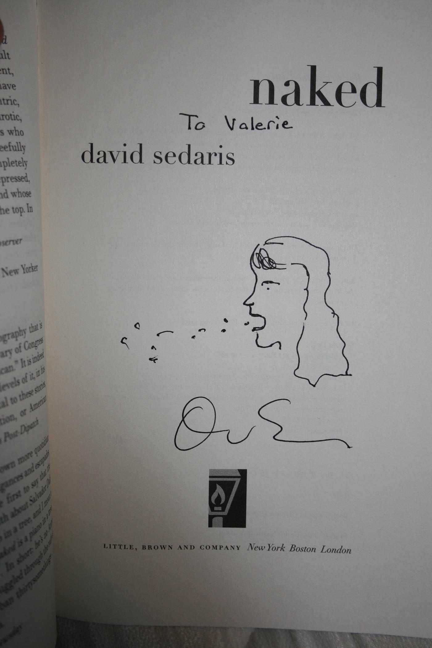 David Sedaris at Steppenwolf in Chicago. A drawing by David Sedaris of me vomiting.