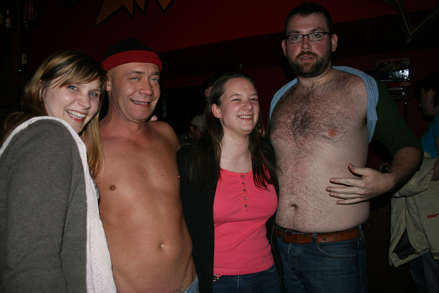Me with the cast of Skinprov at the Annoyance Theatre for my 27th birthday party.