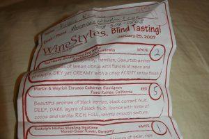 WineStyles blind wine tasting sheet.