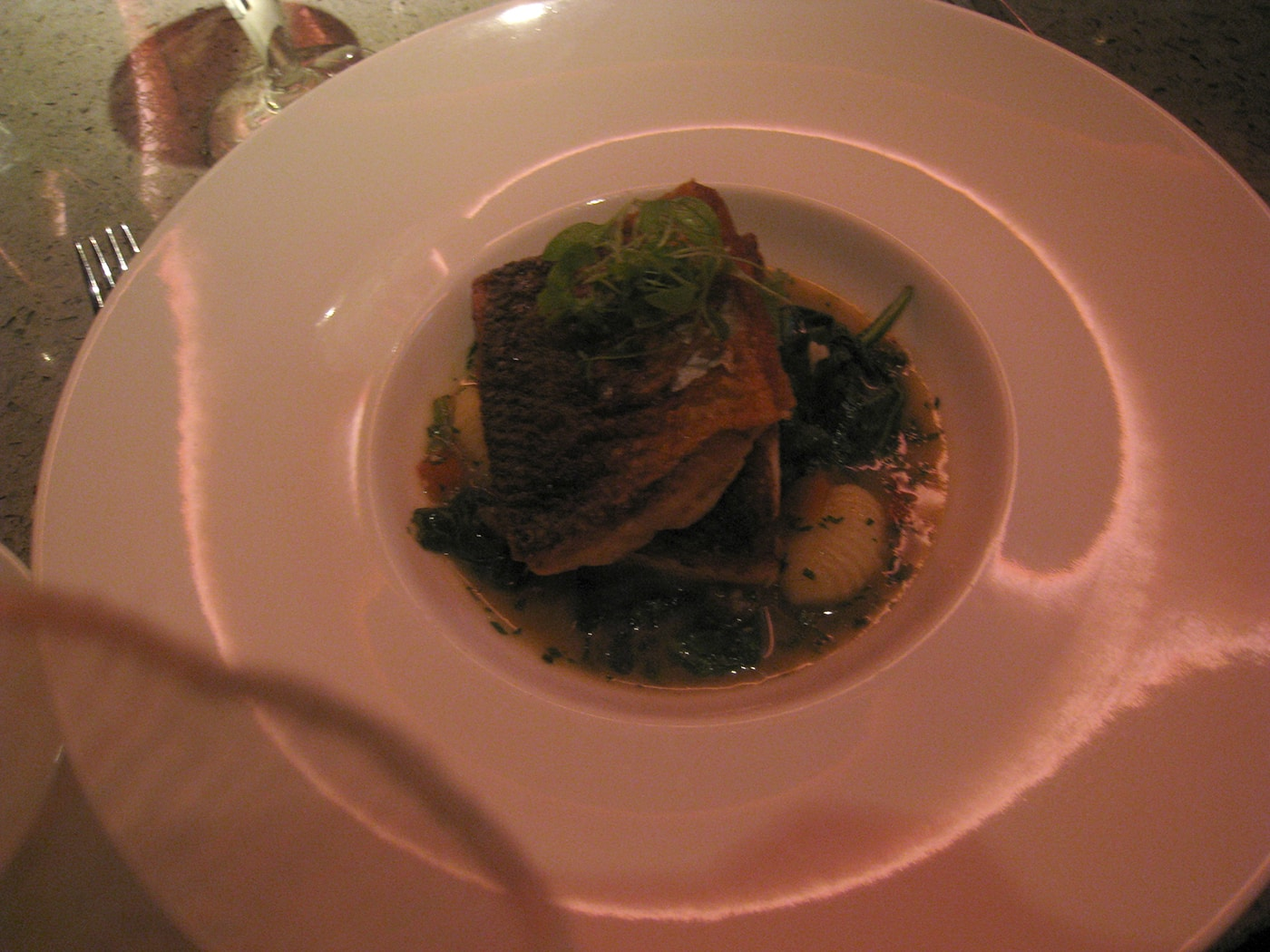Chicago Restaurant Week. Pan seared fillet of walleye pike with herbed gnocchi and brown butter sauce.