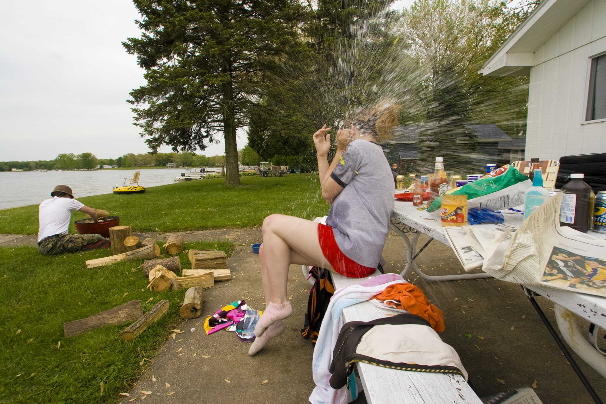 A water balloon exploding on my head - Memorial Day Weekend in Decatur, Michigan