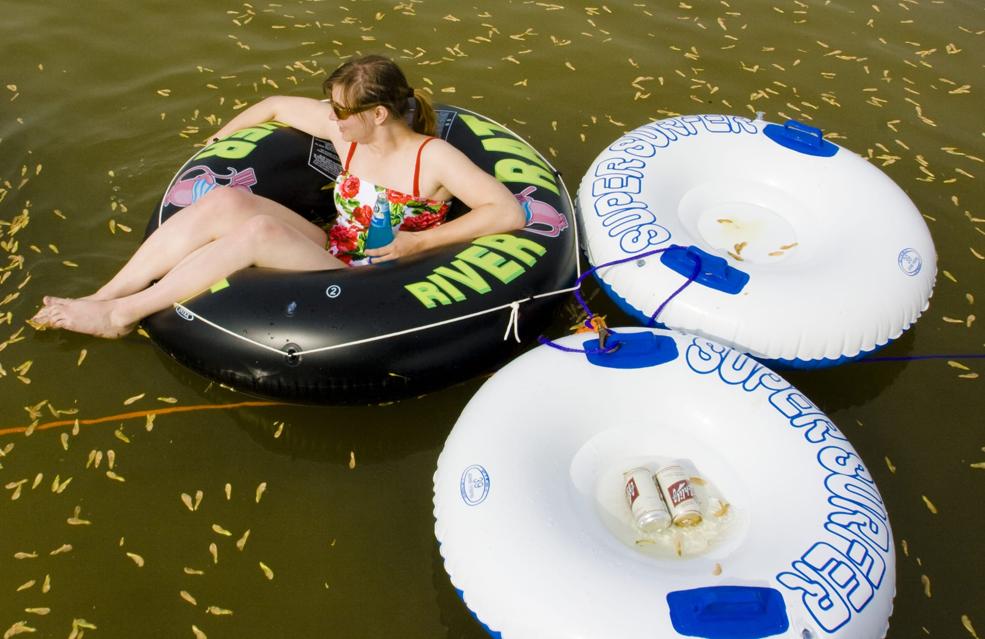 Floating in an inner tube on the lake - Memorial Day Weekend in Decatur, Michigan