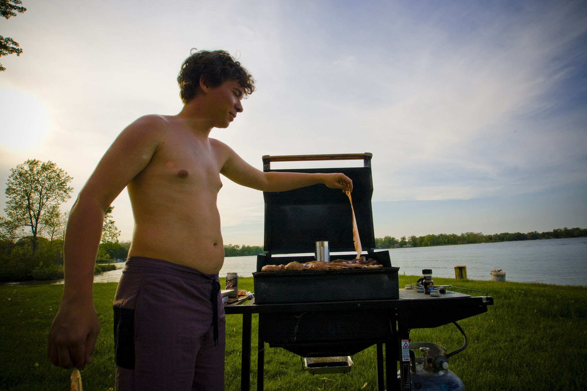 Grilling bacon on the lake - Memorial Day Weekend in Decatur, Michigan