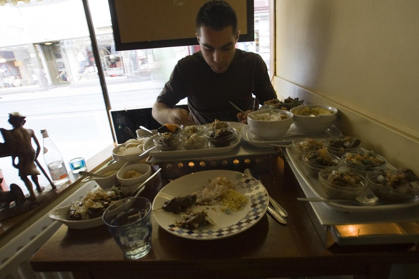 Rijsttafel Indonesian meal in Amsterdam.