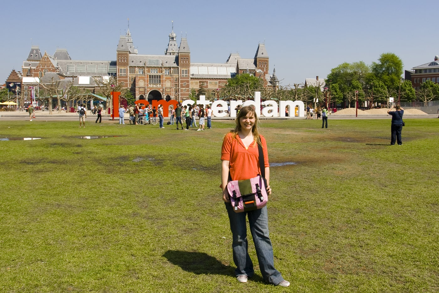 At the I AMsterdam sign in Amsterdam, the Netherlands.