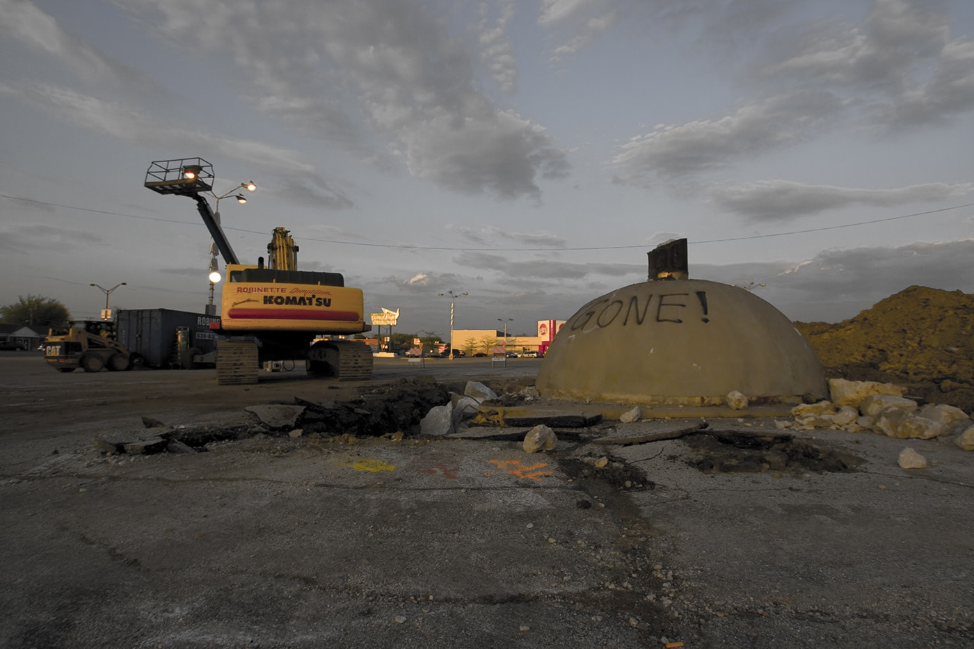 The Spindle in Berwyn, Illinois (Car Kabob, Cars on a Spike) after it was torn down to make way for a Walgreens.