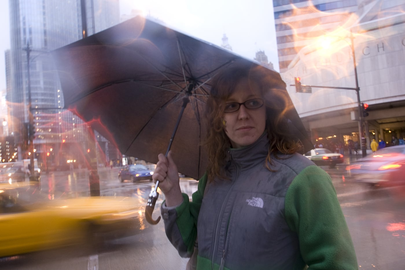 Raining at Looptopia in Chicago, Illinois.