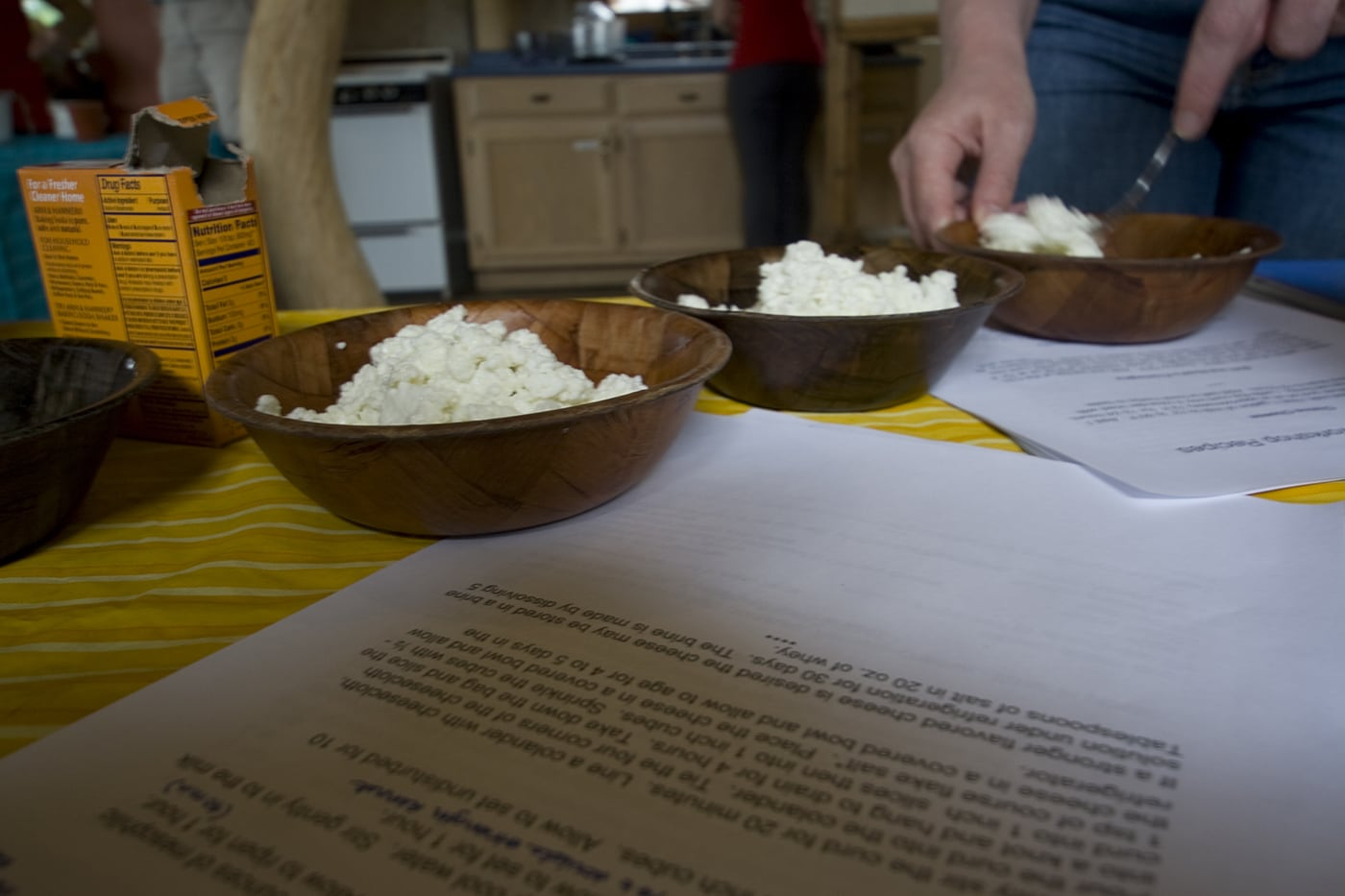Making ricotta at a cheese making class at Angelic Organics in Caledonia, Illinois.