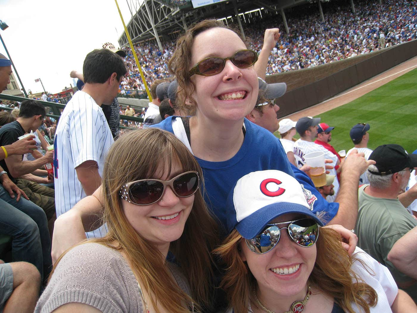 In the bleachers for Emily's birthday party at a Cubs game.
