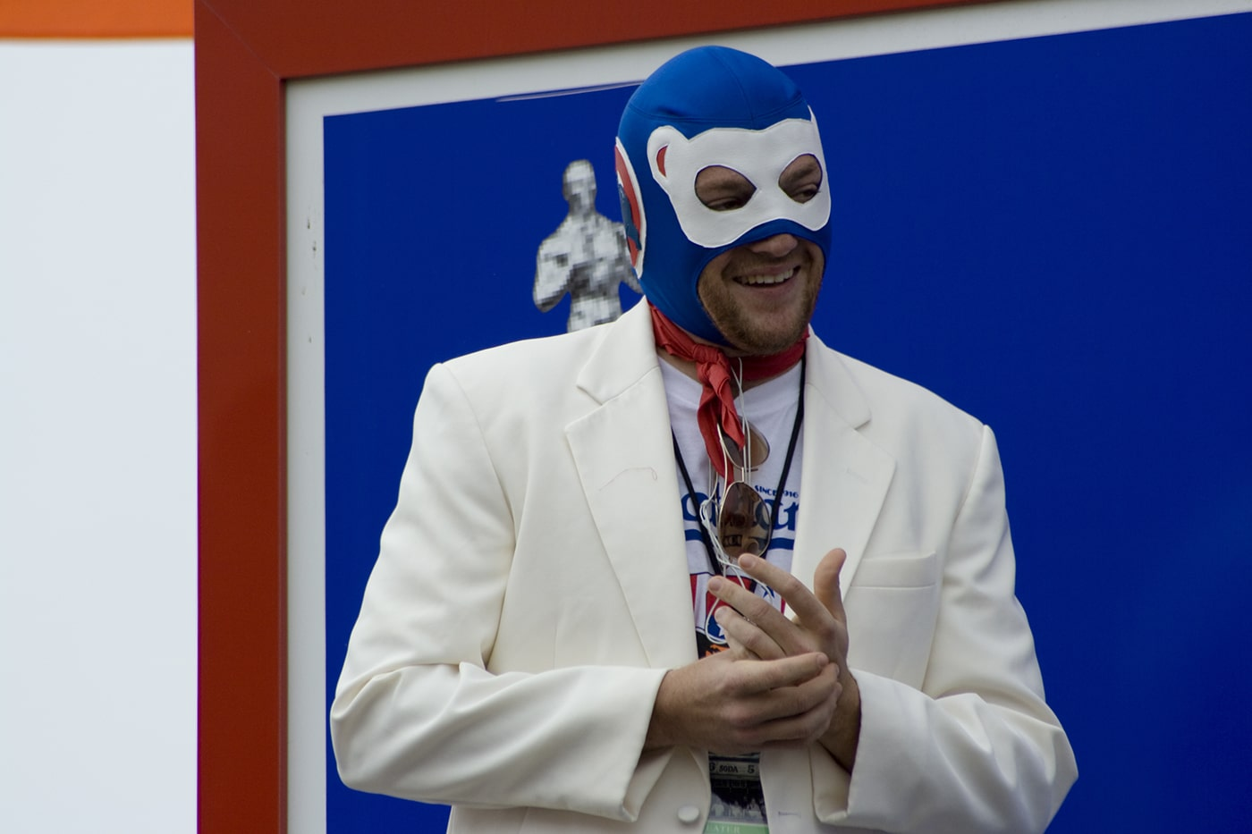 Competitive eater Tim Gravy Brown wears a Cubs competitive eating mask at the 2008 Nathan's Famous Fourth of July hot dog eating contest at Coney Island in New York.