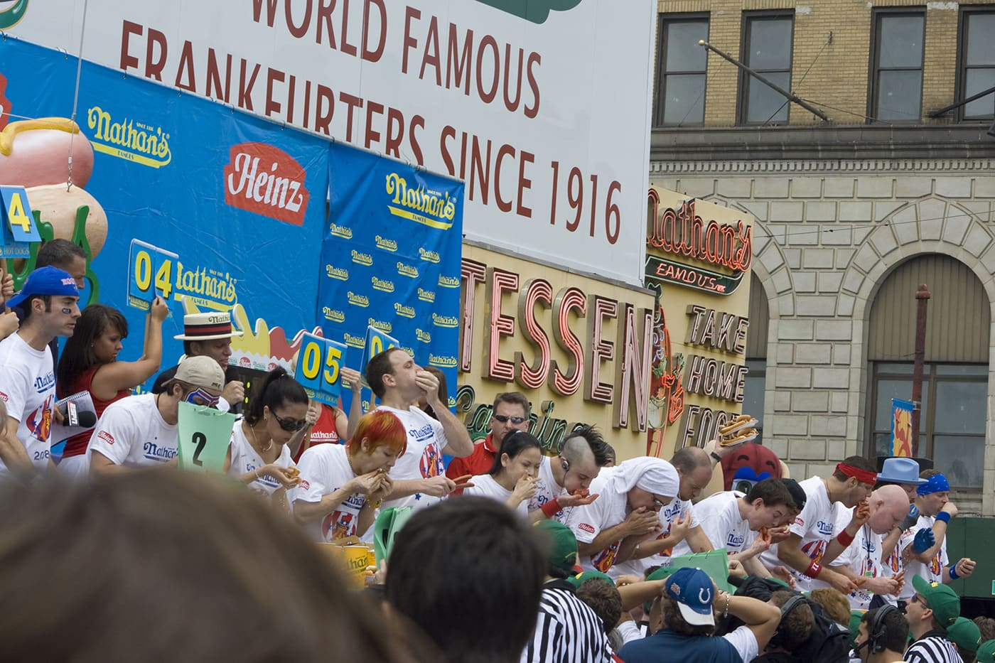 2008 Nathan's Famous Fourth of July hot dog eating contest at Coney Island in New York.