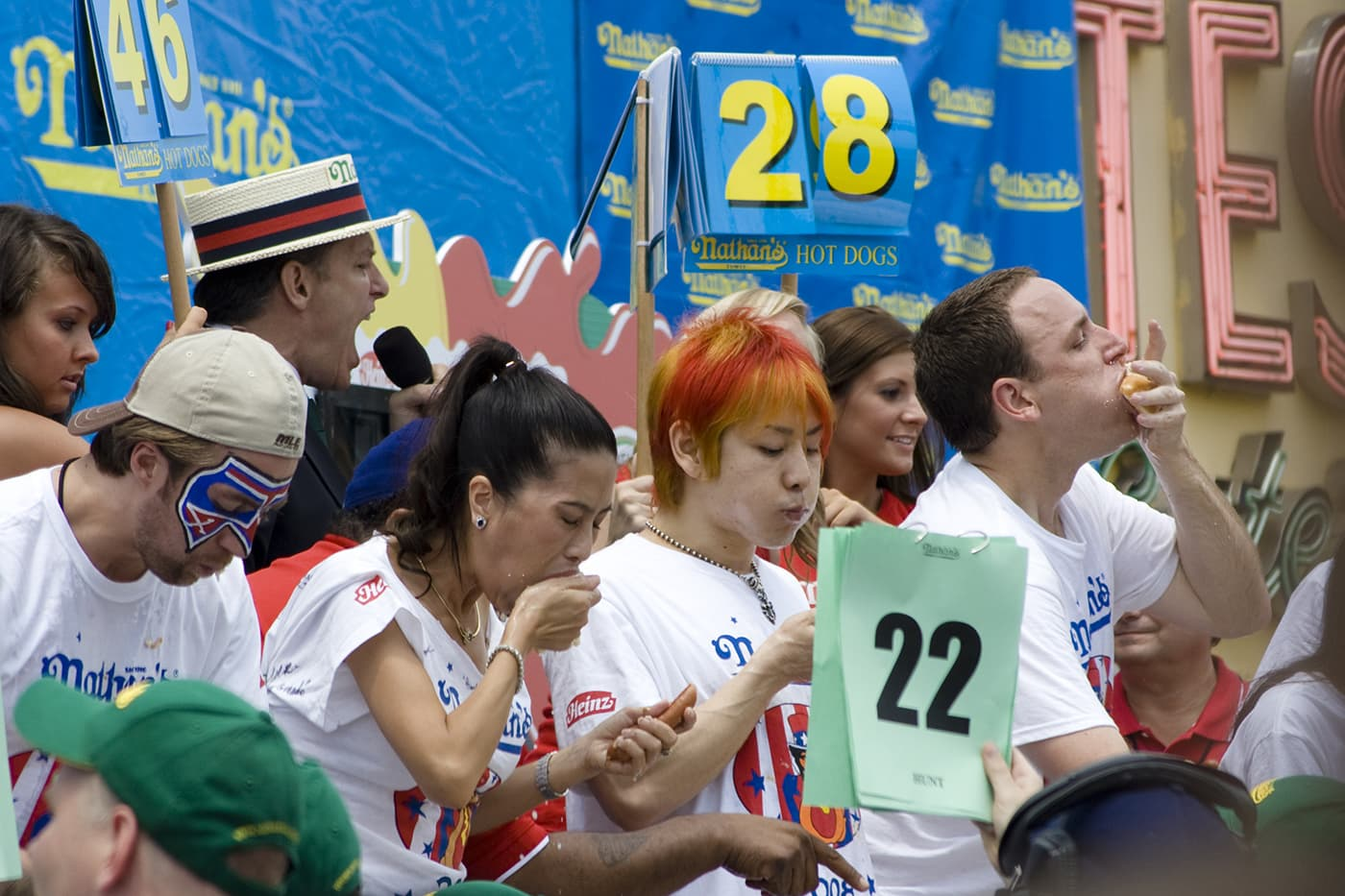 Takeru Kobayashi and Joey Chestnut face off at the 2008 Nathan's Famous Fourth of July hot dog eating contest at Coney Island in New York.