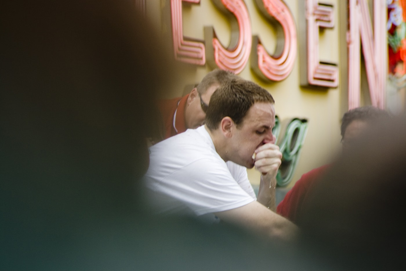 Joey Chestnut eats five hot dogs in overtime at the 2008 Nathan's Famous Fourth of July hot dog eating contest at Coney Island in New York.
