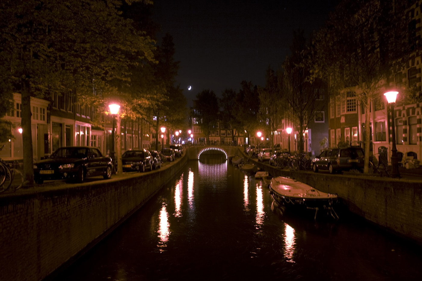 Canals in Amsterdam at night.