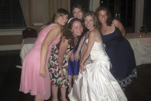 All the girls together at the wedding.