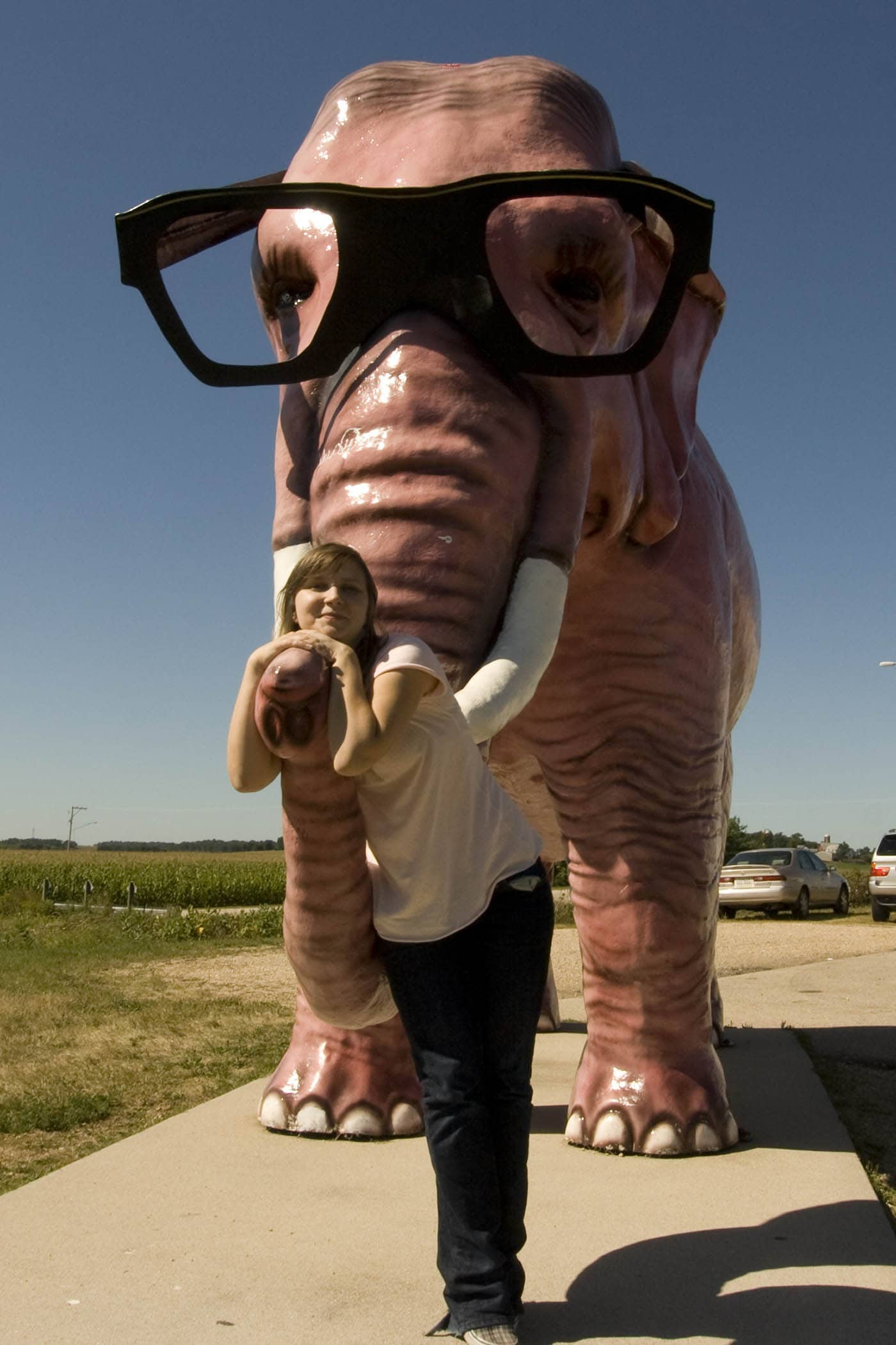 Pink Elephant roadside attraction in DeForest, Wisconsin. Labor Day Chicago to Mount Rushmore Road Trip.