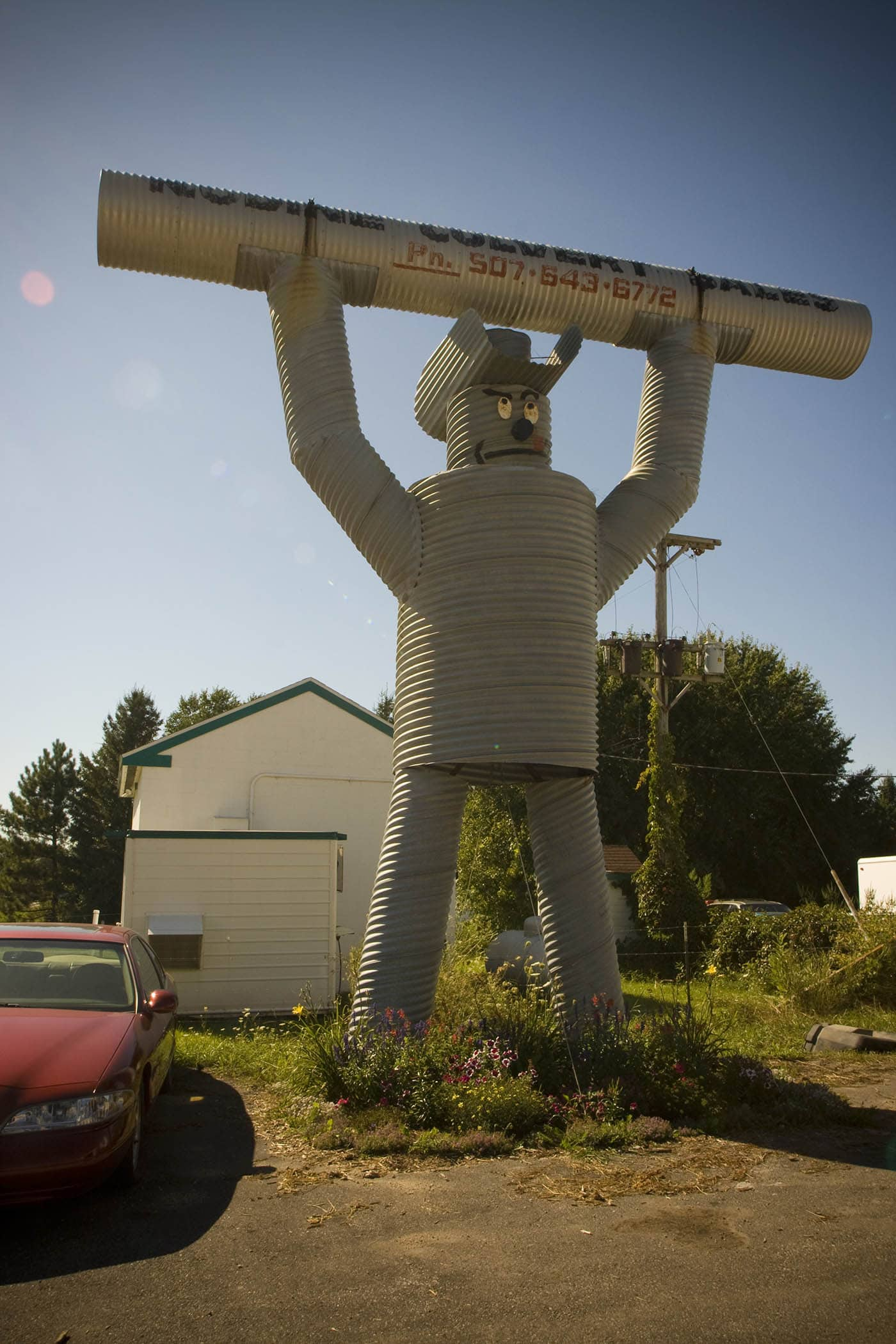 Culvert Man roadside attraction in Nodine, Minnesota. Labor Day Chicago to Mount Rushmore Road Trip.