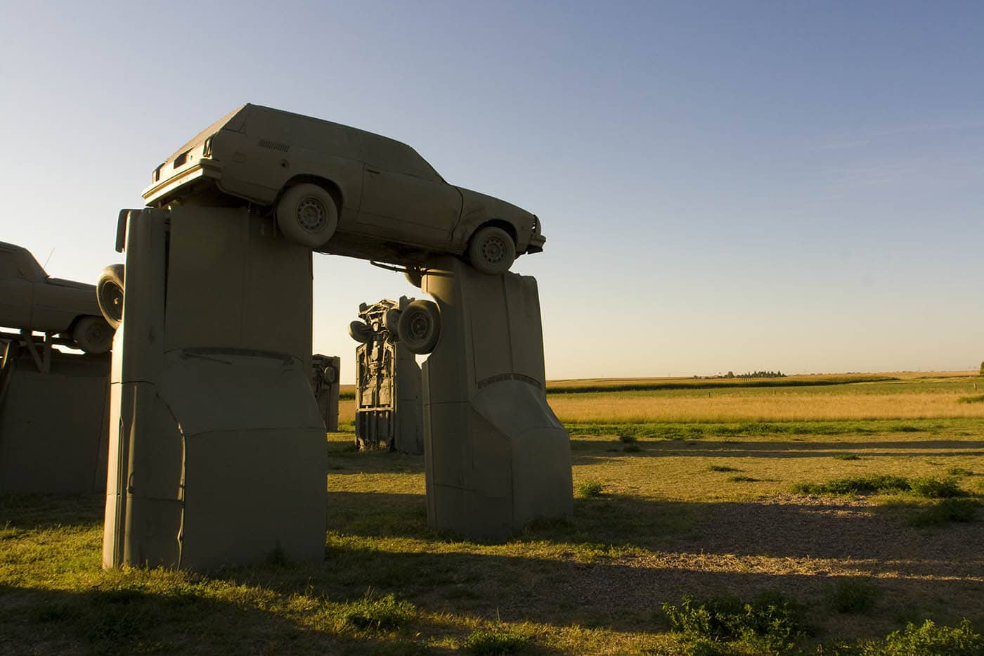 Carhenge roadside attraction in Alliance, Nebraska. Labor Day Chicago to Mount Rushmore Road Trip.