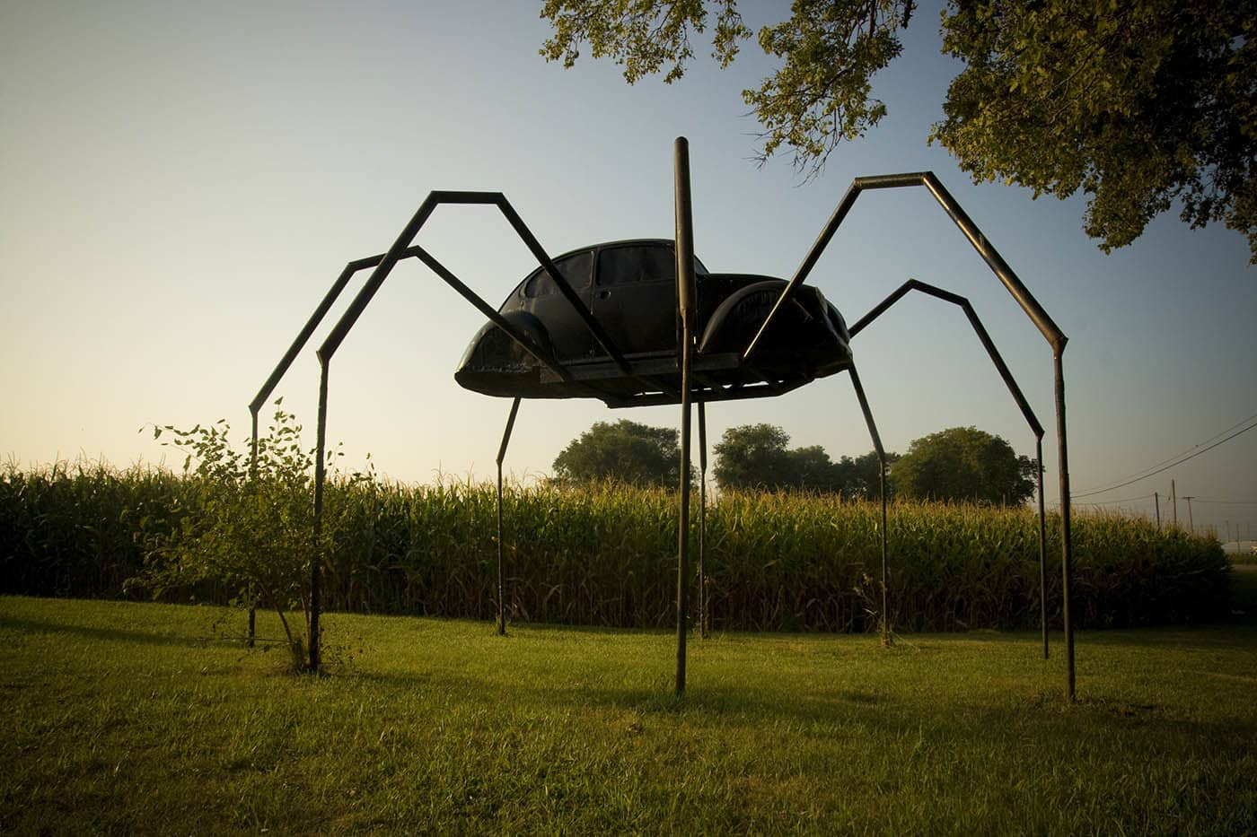 Spider Made Out of a Volkswagen roadside attraction in Avoca, Iowa. Labor Day Chicago to Mount Rushmore Road Trip.