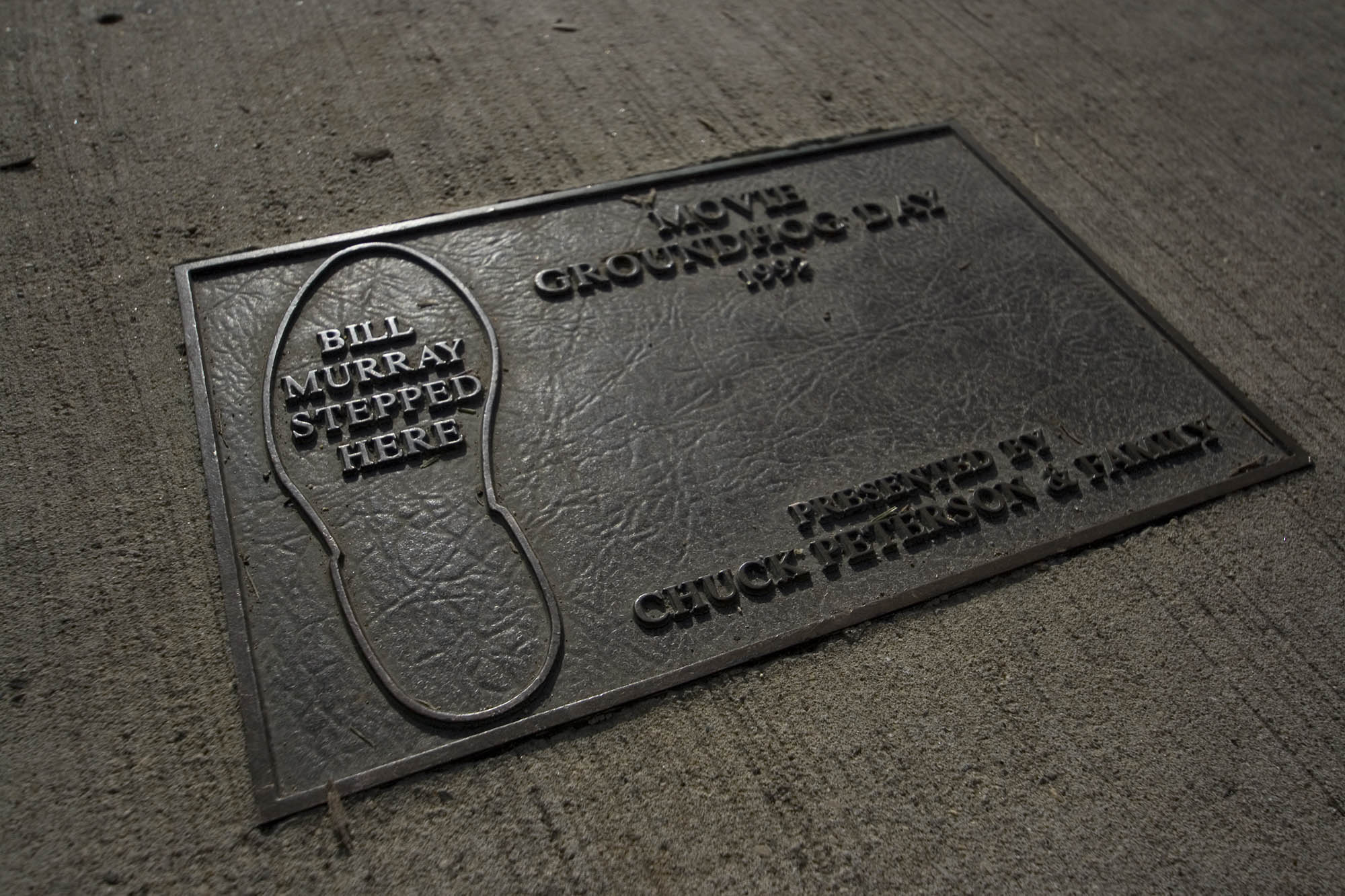 Bill Murray stepped here plaque in Woodstock, Illinois - the town where the movie Groundhog Day was filmed.