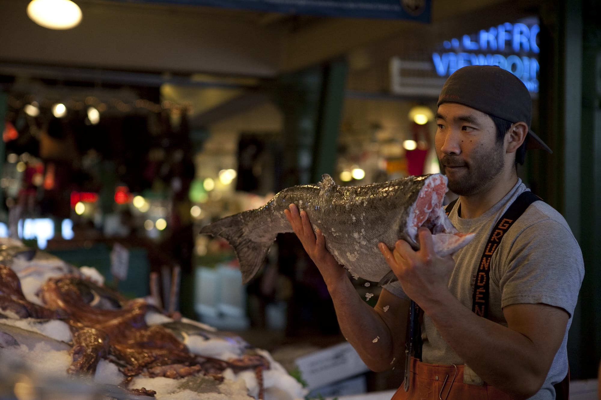 Fish tossing in Seattle's Pike Place Market