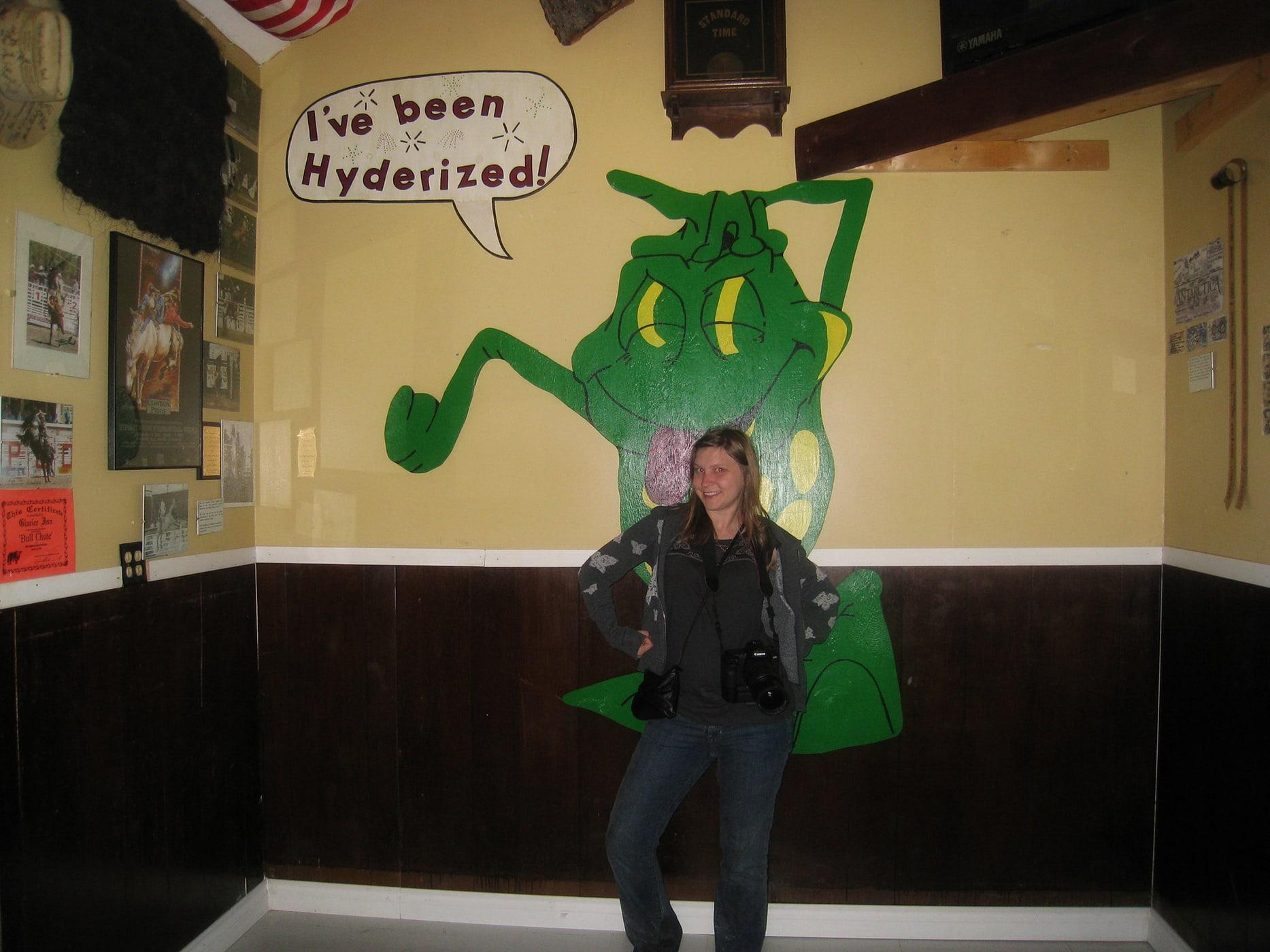 Getting Hyderized at the Glacier Inn bar Hyder, Alaska
