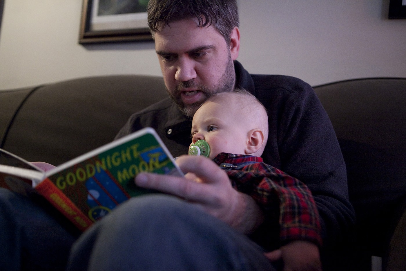 Reading to Dylan on Christmas Eve.