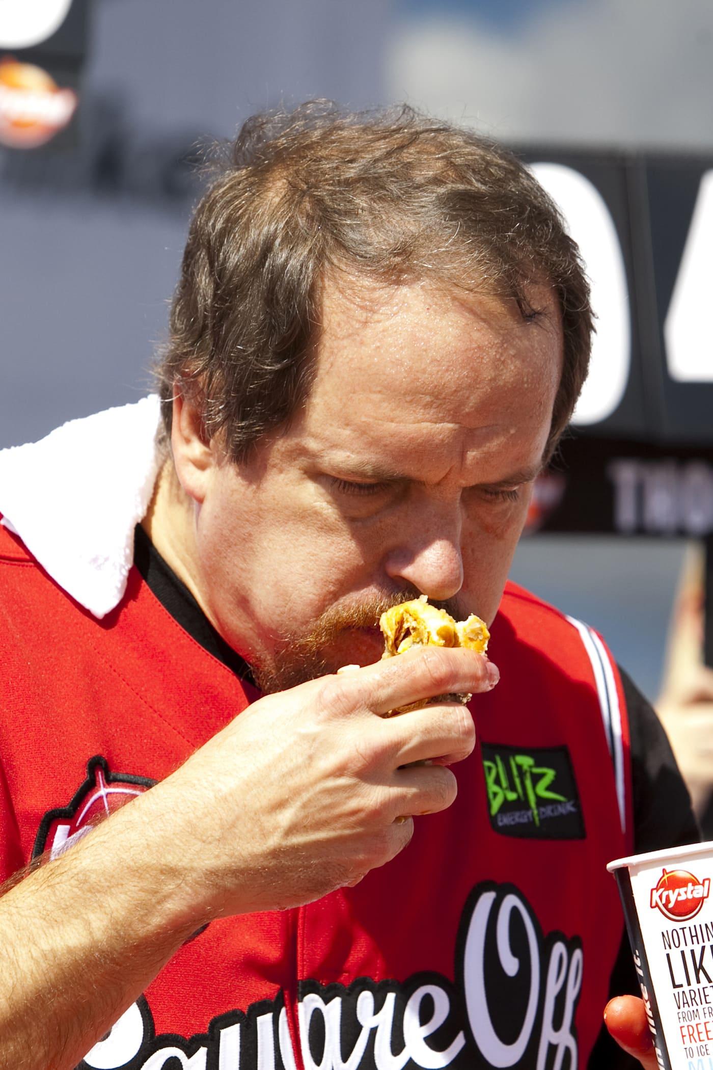 Bob Shoudt at the Krystal Square Off hamburger eating contest.