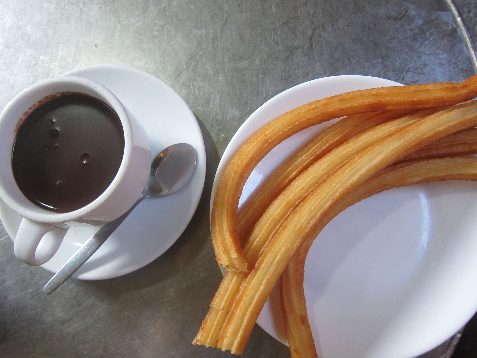 Chocolate con churros in Madrid, Spain.
