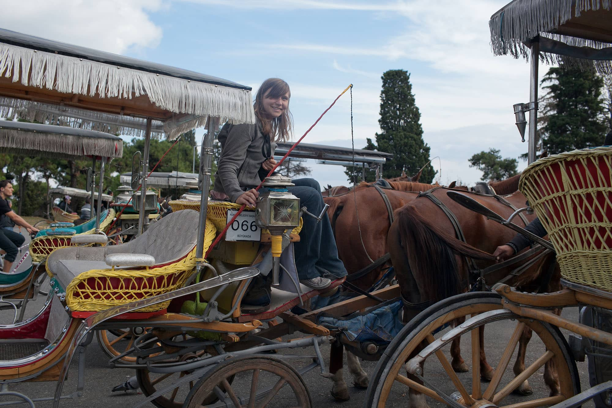 Taking a horse and carriage ride on the Princes' Islands of Istanbul, Turkey.