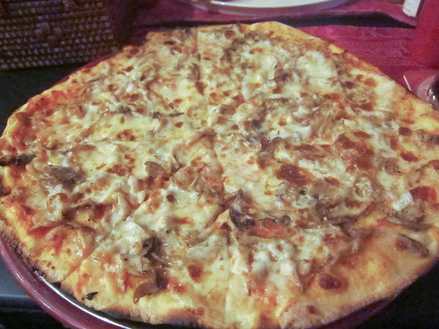 Mushroom pizza in Siem Reap, Cambodia. Not the happy kind of mushroom.