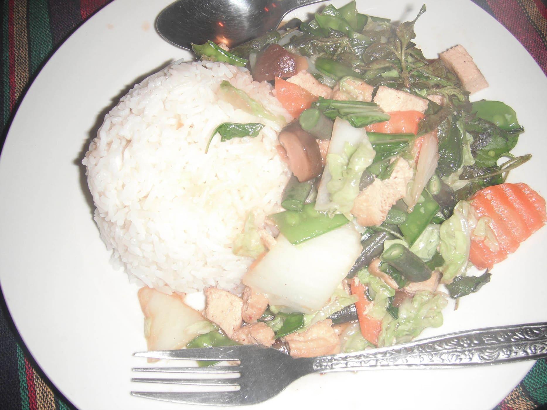 Vegetarian dinner in Vang Vieng, Laos.