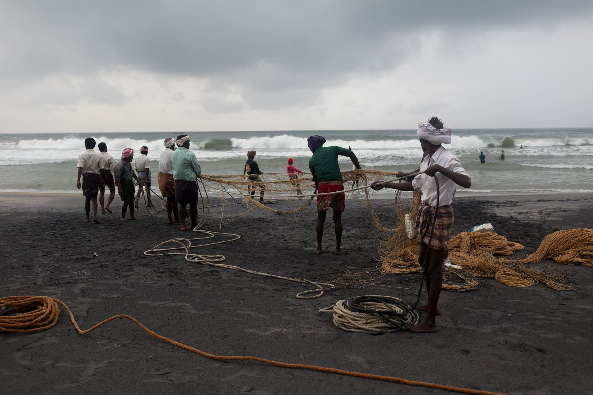 Kovalam Fishermen on the beach in India