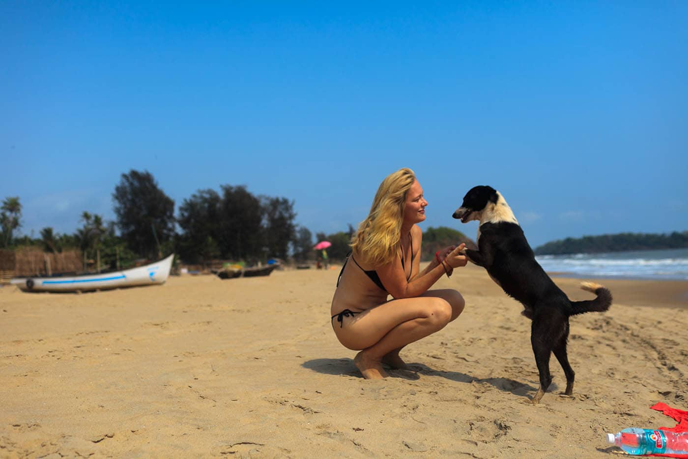 Dani with a dog on the beach in Palolem, Goa, India.
