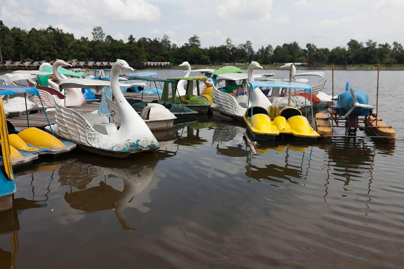 Swam boats at Huay Tung Tao Lake in Chiang Mai, Thailand.