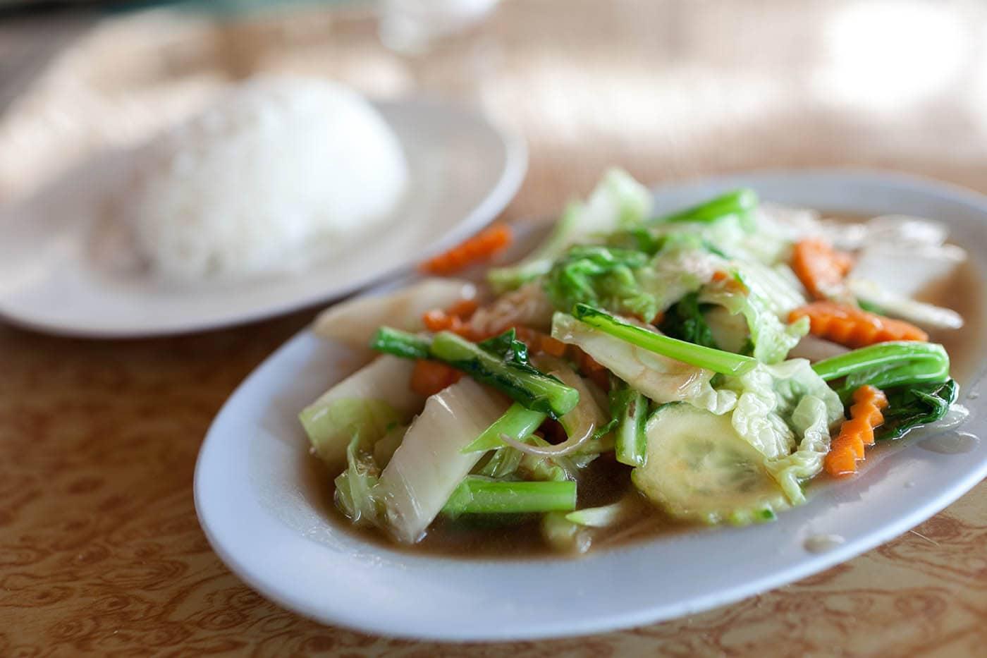 Vegetable stir fry at Huay Tung Tao Lake in Chiang Mai, Thailand.