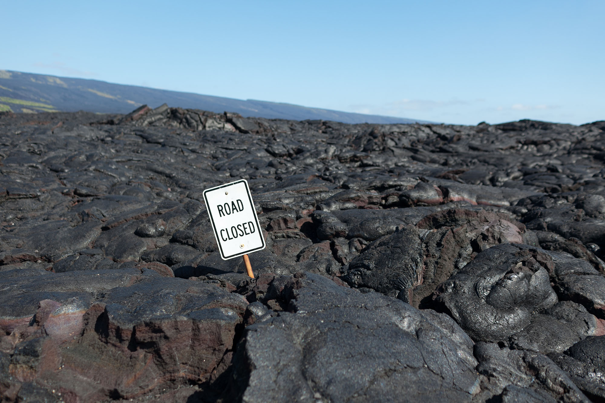 Road closed sign at Hawaii Volcanoes National Park on the Big Island in Hawaii.