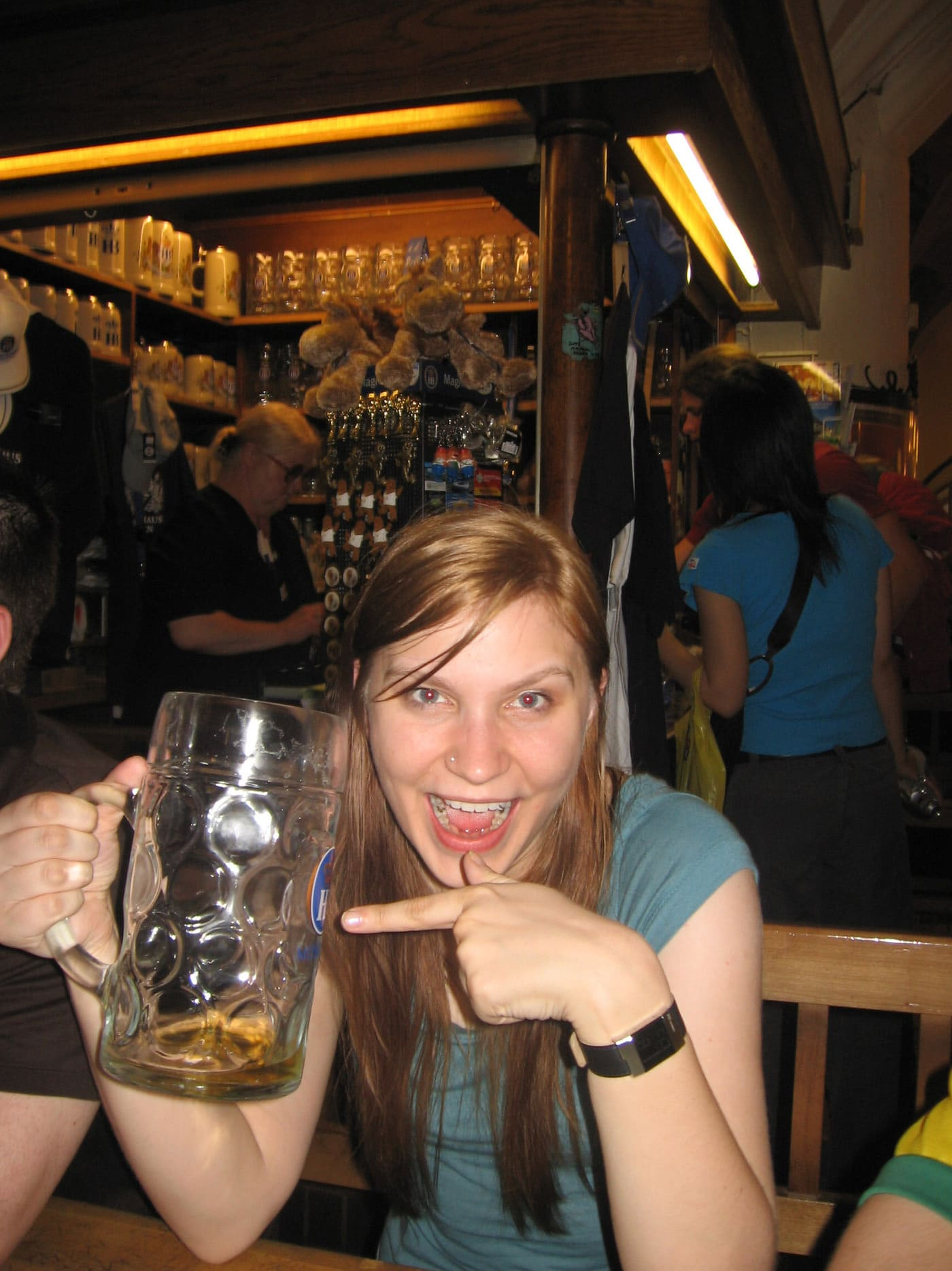I finished a liter of beer at Hofbrauhaus in Munich, Germany