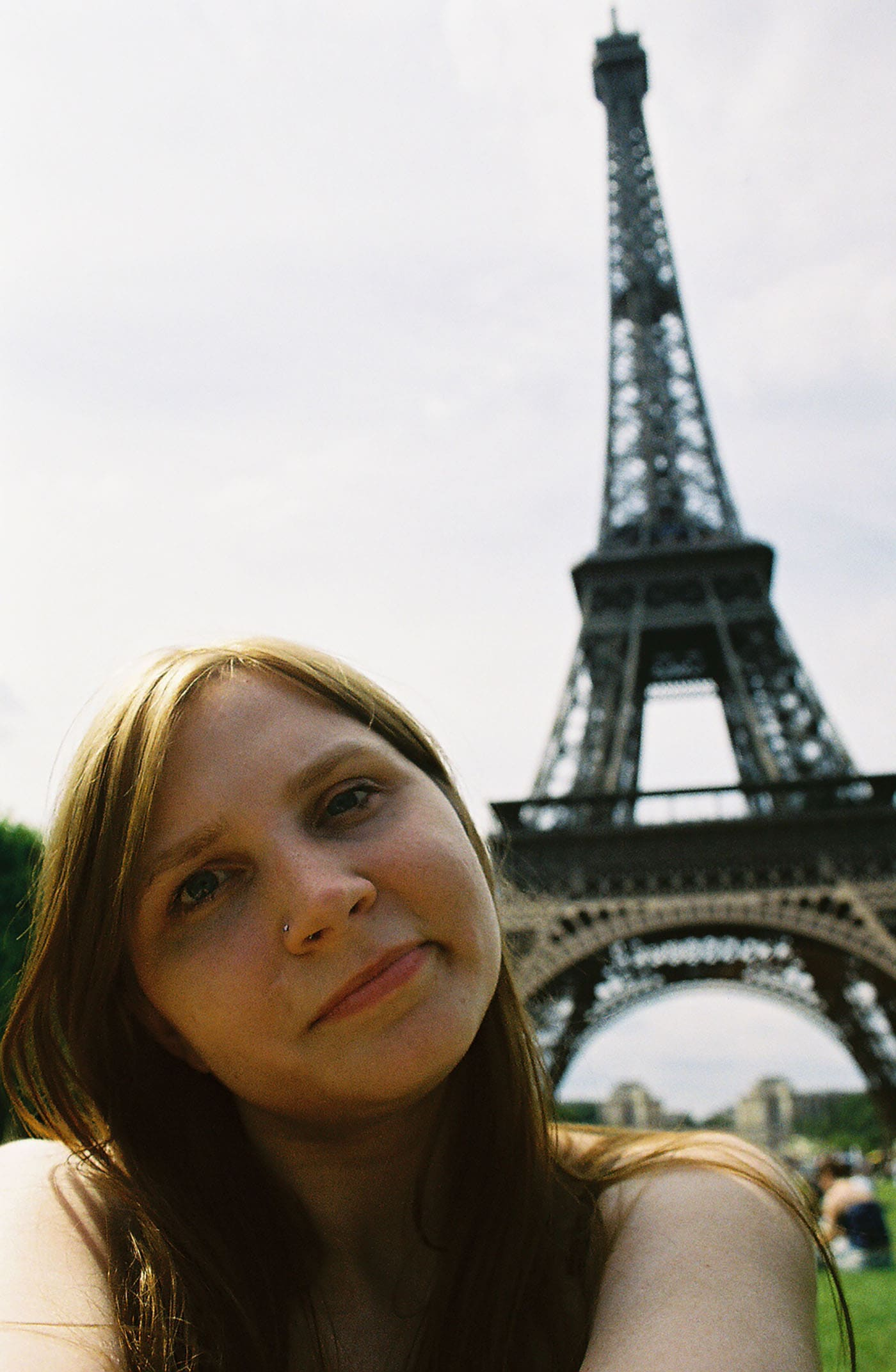 Self portrait in front of the Eiffel Tower in Paris, France