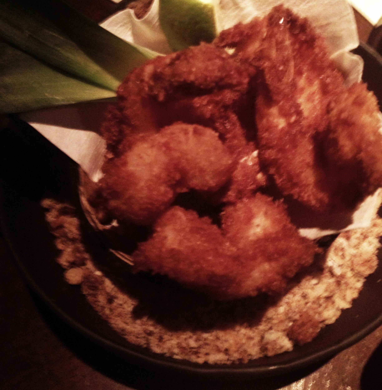 Coconut shrimp at Three Dots and a Dash