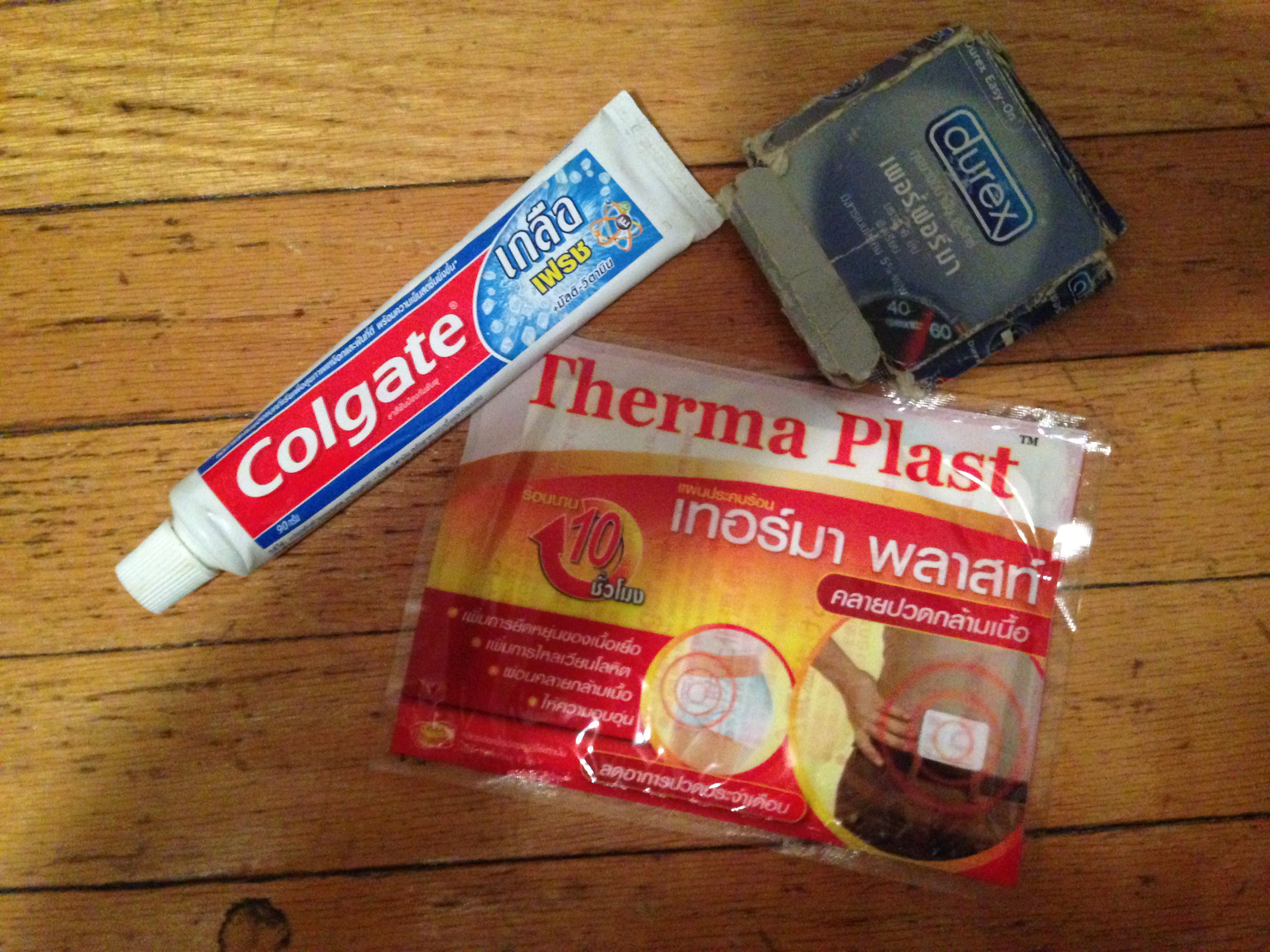 Thai salt toothpaste, condoms, and back pads.
