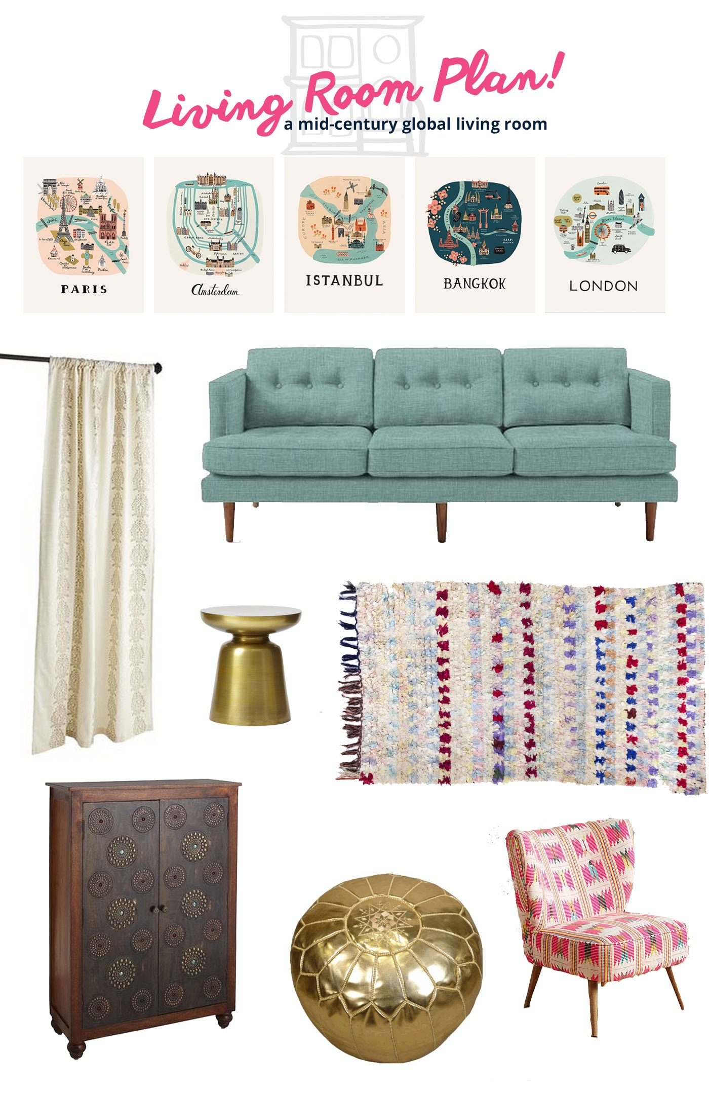 Living Room Plan: Mixing Mid-Century Modern Pieces with Global Accents in teal and pink.