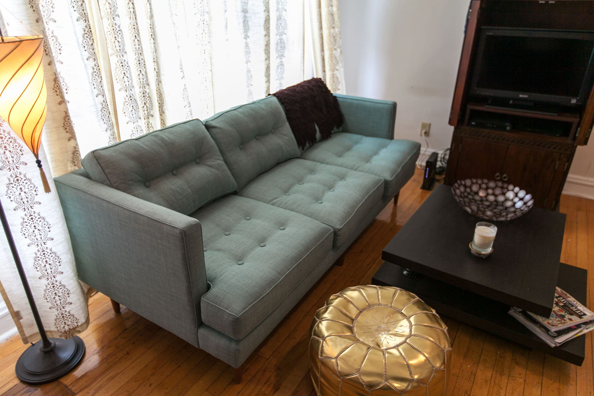 An Ocean-Blue Couch: My Living Room So Far - West Elm Peggy Sofa in Eucalyptus