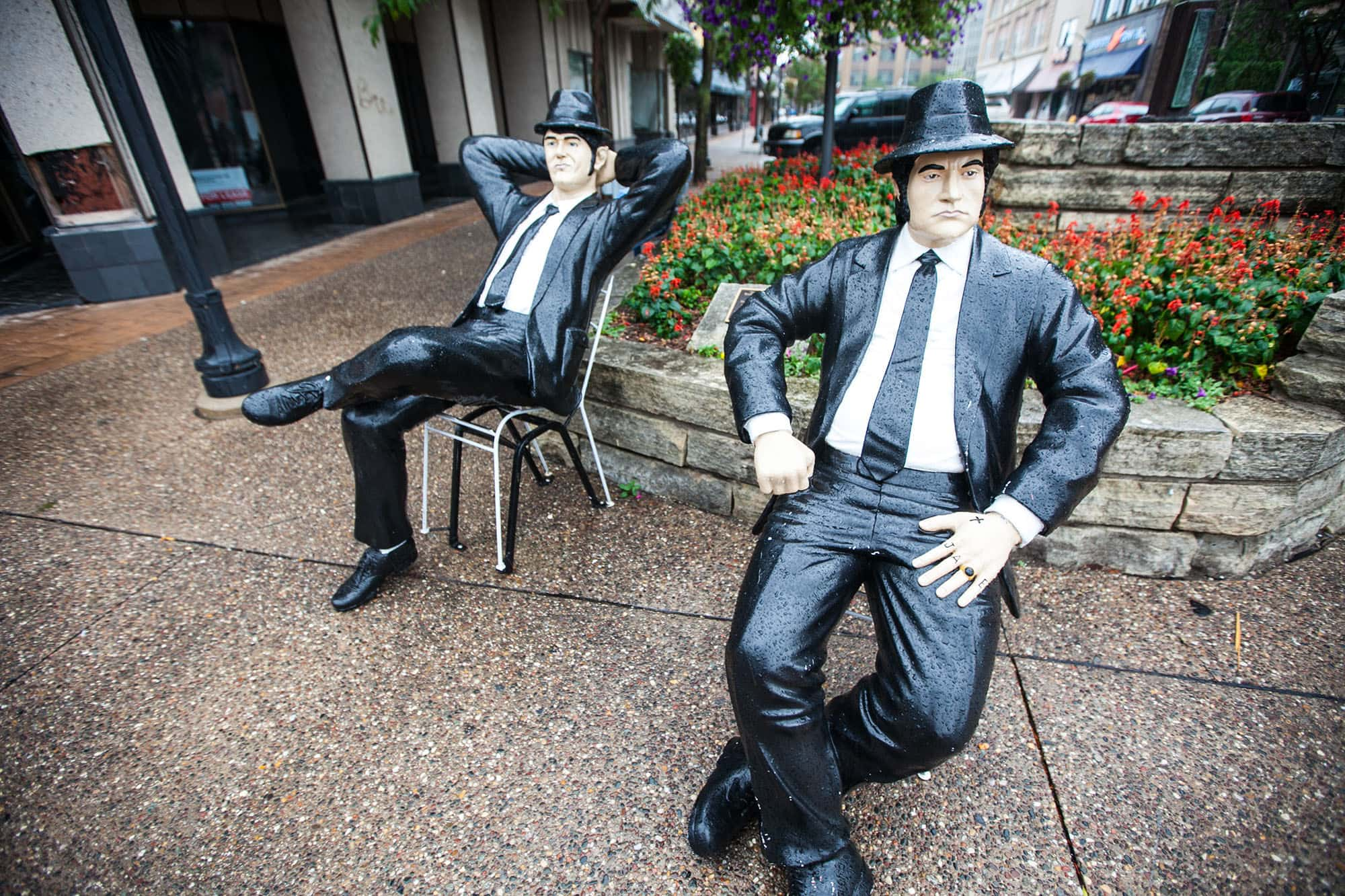 Blues Brothers Statues in Rock Island, Illinois.