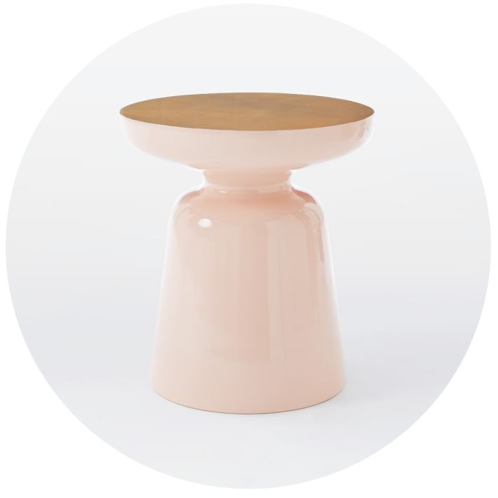 Pink and Brass Martini Side Table from West Elm