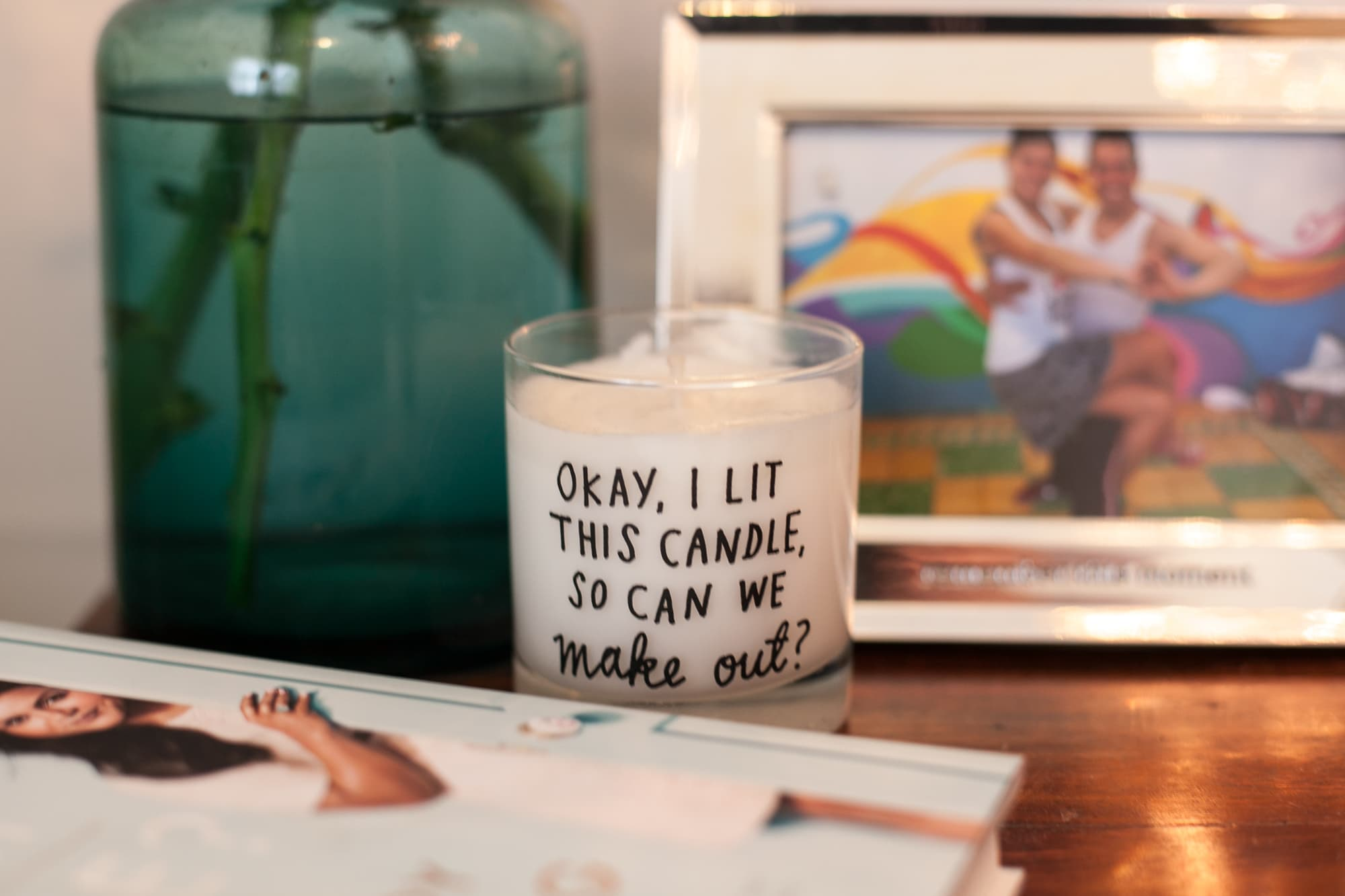 My nightstand in my blue boho bedroom. OK I lit this candle so can we make out?