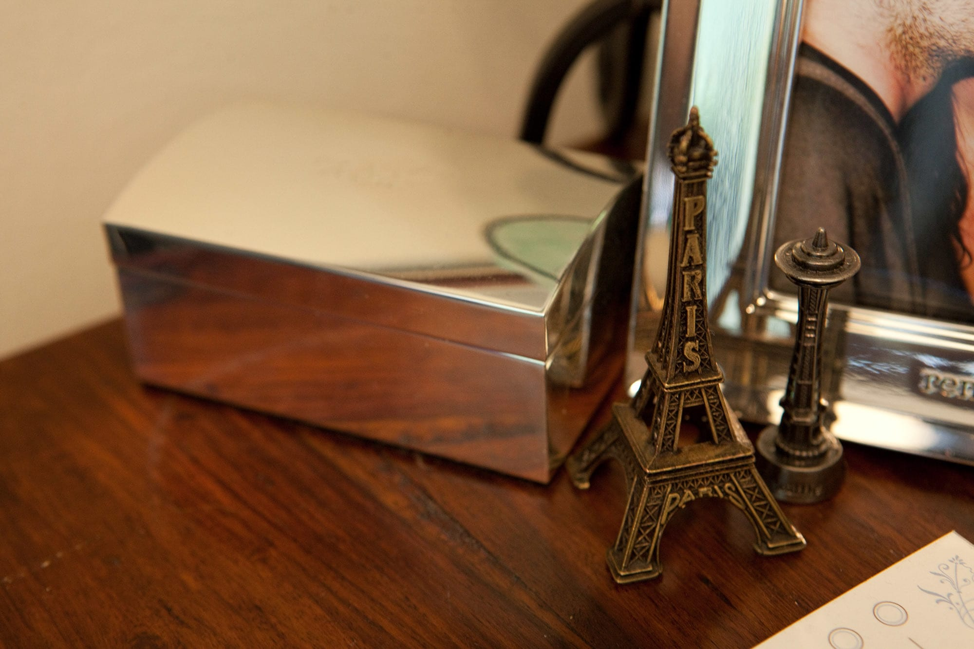 My old bedroom. The Eiffel Tower and Space Needle on my nightstand.